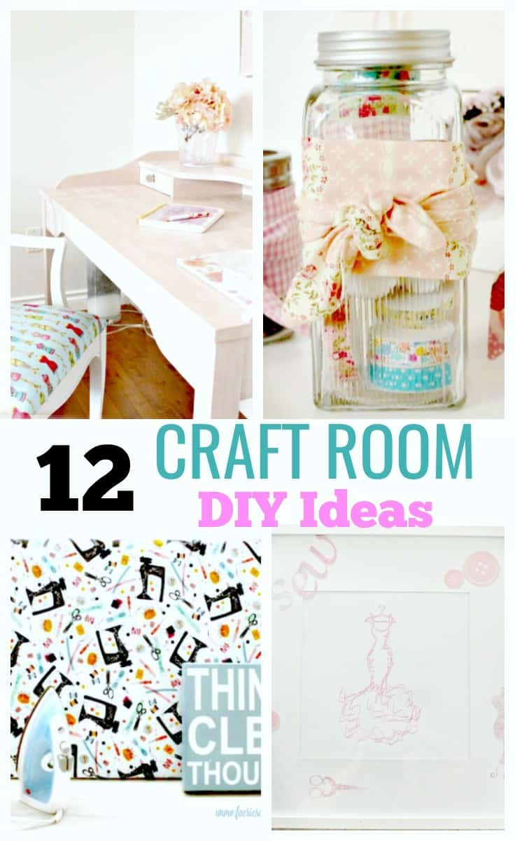 A collage showing 12 different craft room DIY ideas, including an iron, storage, artwork, and craft work area. Craft room ideas, craft room ideas on a budget, hobby room idea, sewing room idea, craft area ideas,craft room inspiration, home office craft room ideas.