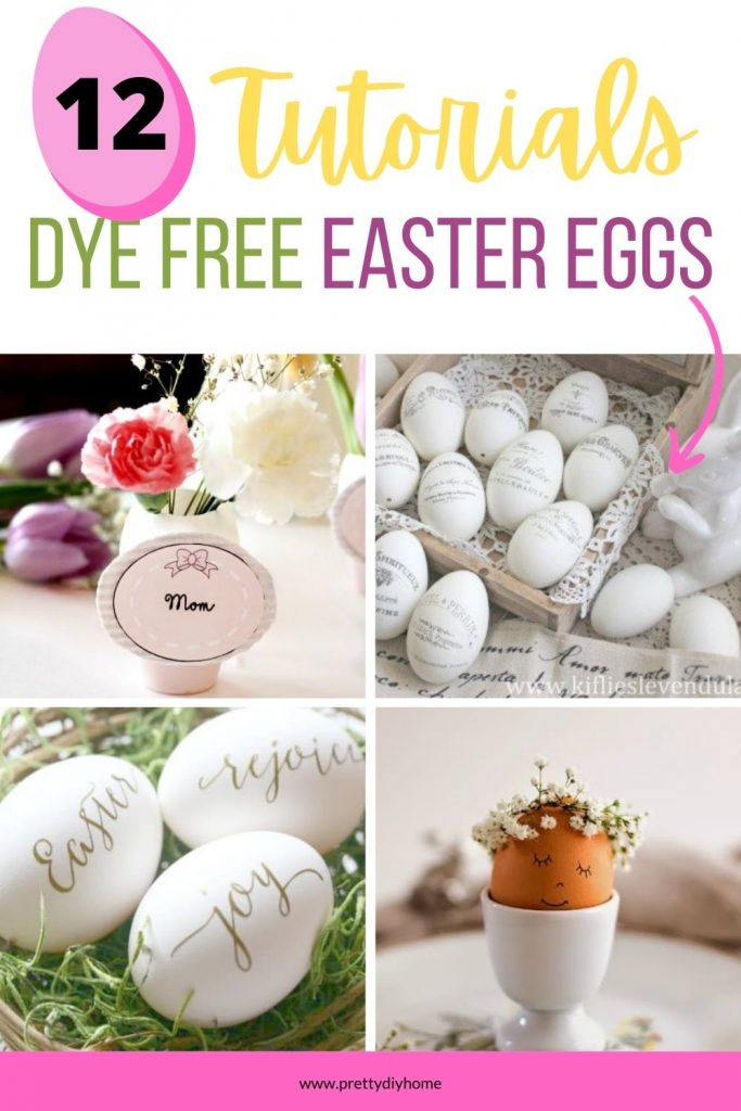Beautiful Easter Egg Craft ideas, one brown egg with a floral crown, Easter egg placeholders, religious themed Easter eggs as well.