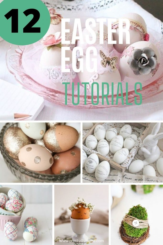 A collection of Easter egg tutorials, some are pink with flowers, white Easter eggs with Rae Dunn, a moss covered eggs all in a collage