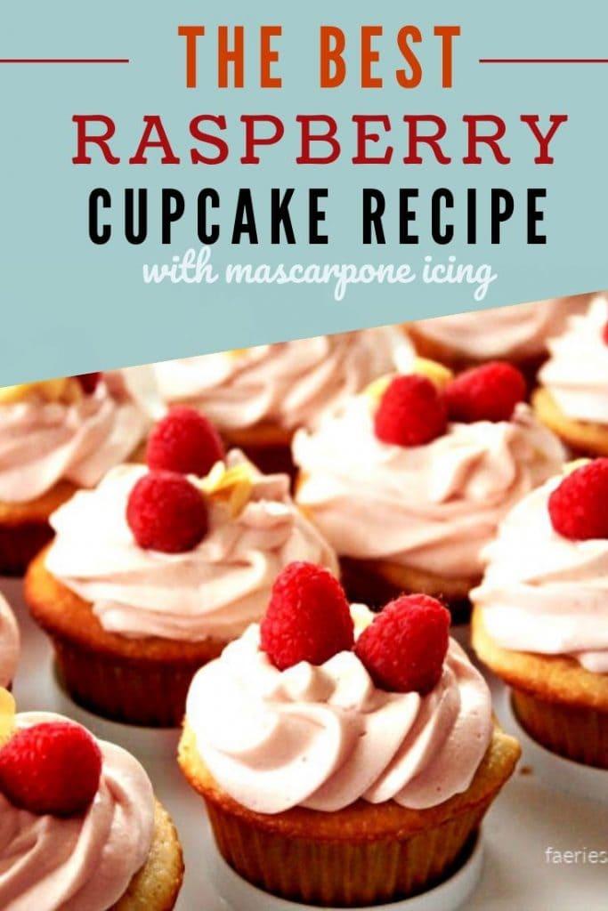 Vanilla Cupcake Recipe covered in a swirl of homemade mascarpone icing.