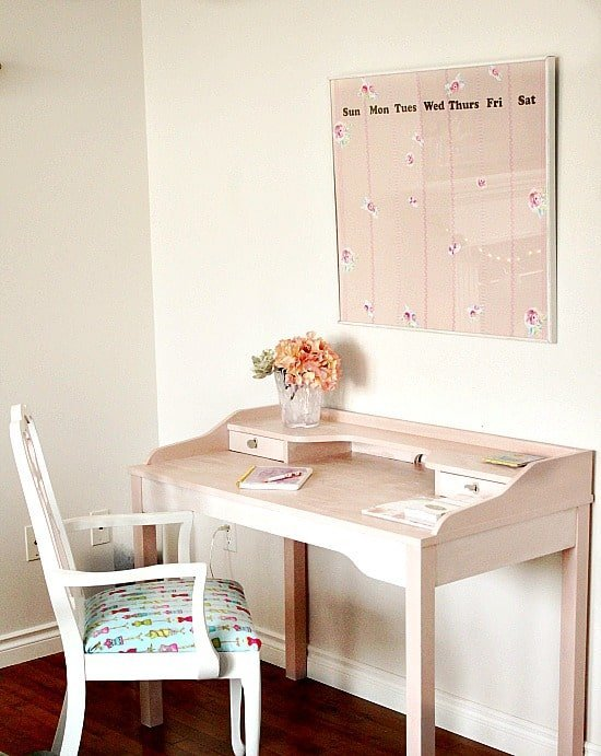 A refinished desk for a home office or part of a home office craft room area. Craft room ideas, craft room ideas on a budget, hobby room idea, sewing room idea, craft area ideas,craft room inspiration, home office craft room ideas.