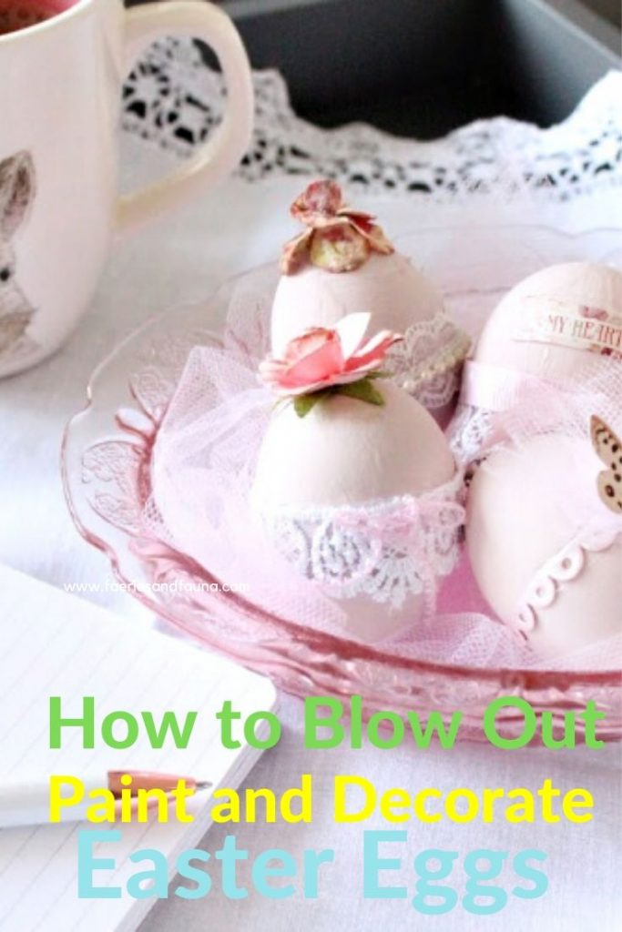 Pink shabby chic Easter egg decorating with blush pink paint and lace.