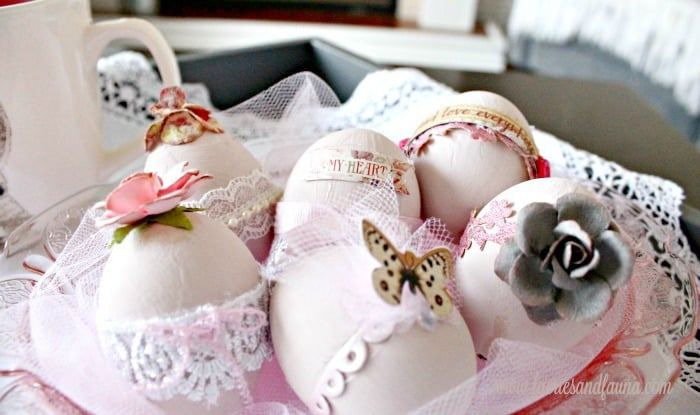 Shabby chic Easter eggs, a feminine Easter egg painting craft