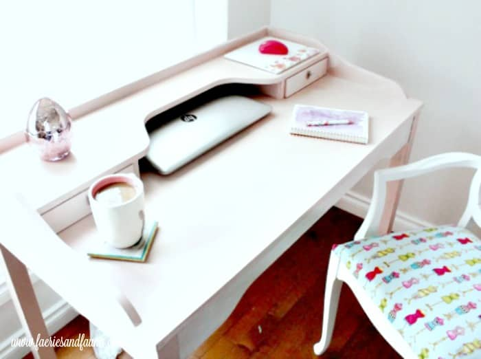 A pretty blush pink office area created with a DIY Chalk Paint Furniture Project.