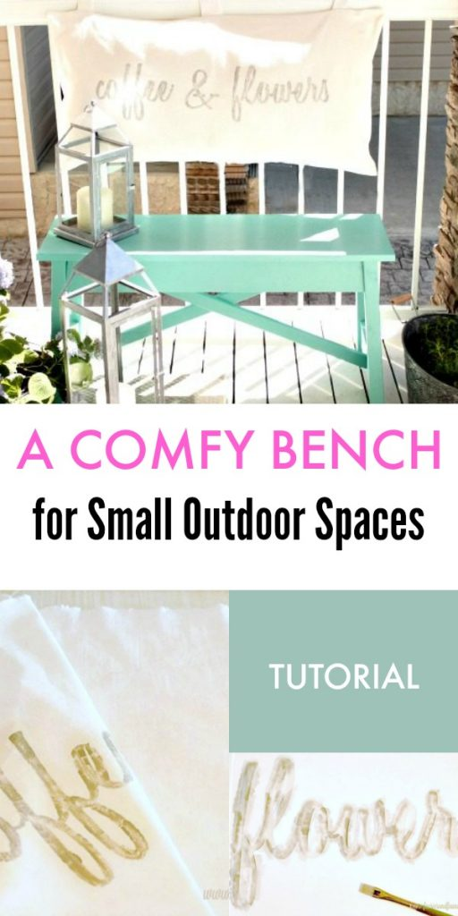 A comfortable bench with a cushion back for outdoors.