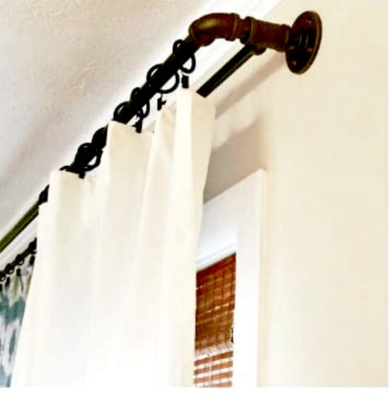 DIY window treatments, window treatment ideas,curtain ideas,, Inexpensive Window Treatments, Feminine window treatments, shower rod
