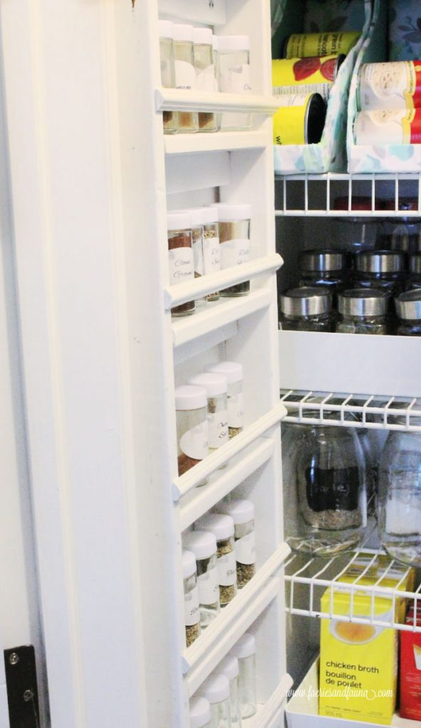 A kitchen pantry with DIY spice rack