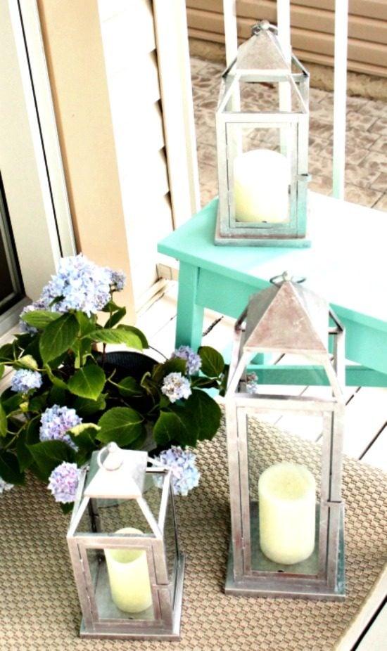 Three galvanized lanterns for front porch decor.   How to paint a galvanized finish, DIY garden lantern, lantern update, DIY lantern