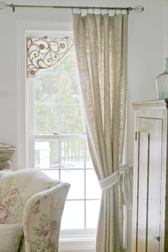 Refurbished window treatment, DIY window treatments,metal bracket, window treatment ideas,curtain ideas,, Inexpensive Window Treatments, Feminine window treatments, shower rod