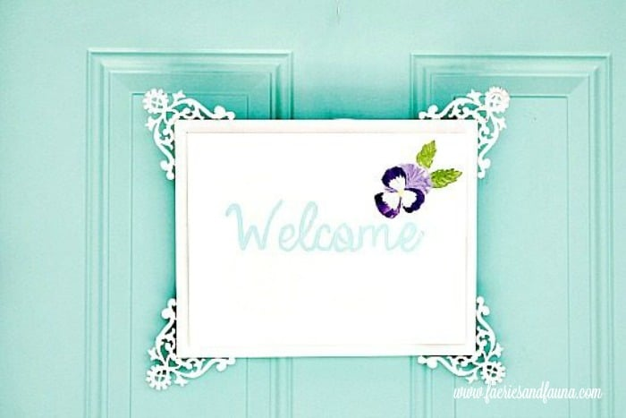DIY hand painted welcome sign. porch, small front porch ideas, porch ideas, front porch ideas, front porch, front porch decorating ideas
