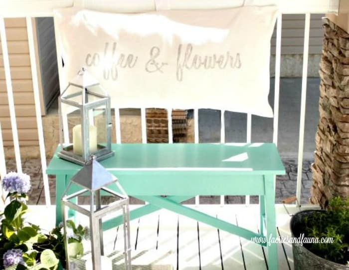 A pretty diy turqoise bench on a front porch. porch, small front porch ideas, porch ideas, front porch ideas, front porch, front porch decorating ideas