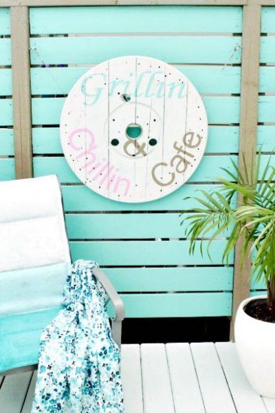 cable Spool ideas, wood cabe spool projec, arge wooden spool crafts, DIY deck art, DIY deck decor