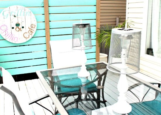Patio table set up with DIY lamps and lamp shades. DIY Outdoor Lighting, DIY Solar Lights, Solar Light Ideas