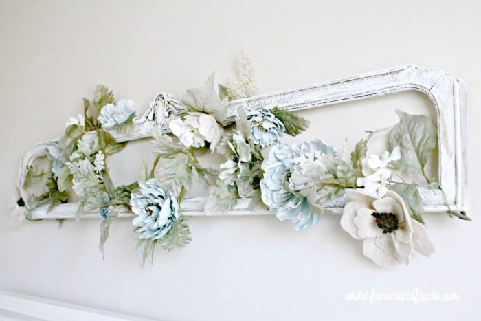 DIY farmhouse wall art project for above the headboard. How to make DIY bedroom art for cheap, using thrifted materials