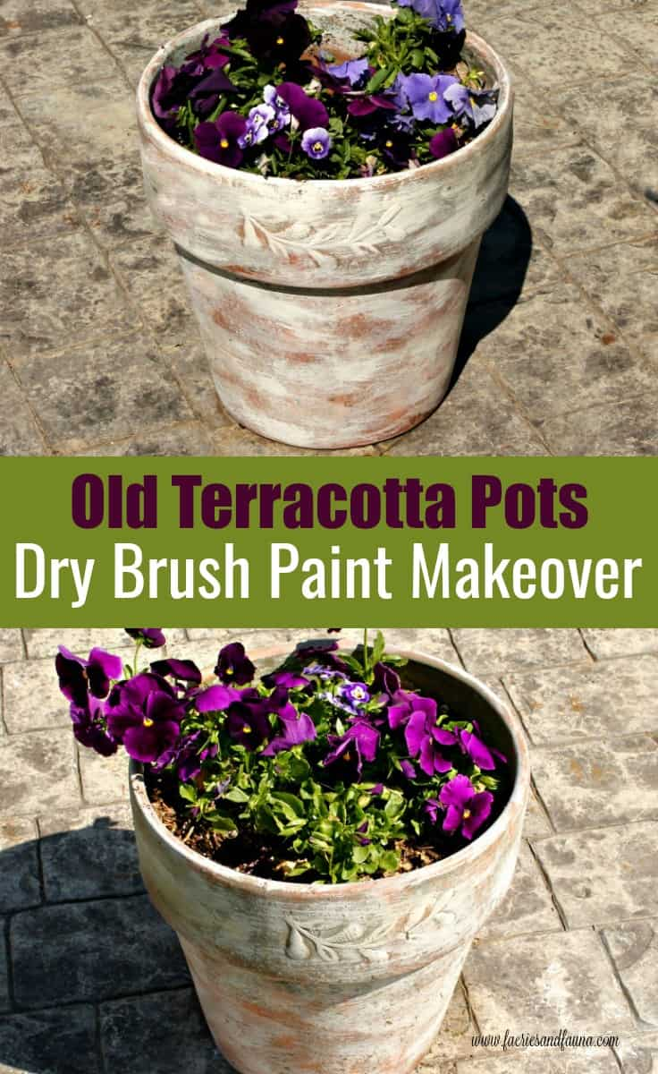 Terracotta pot makeover with a dry brush paint technique