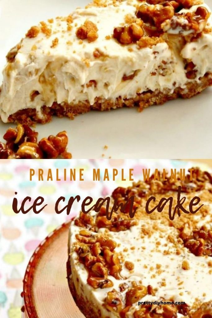 A slice of maple walnut ice cream cake full of crunchy bits of praline