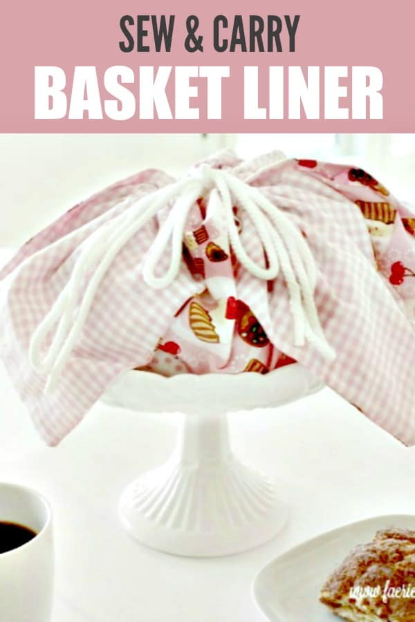 How to sew a pretty pink cotton farmhouse style basket liner tutorial