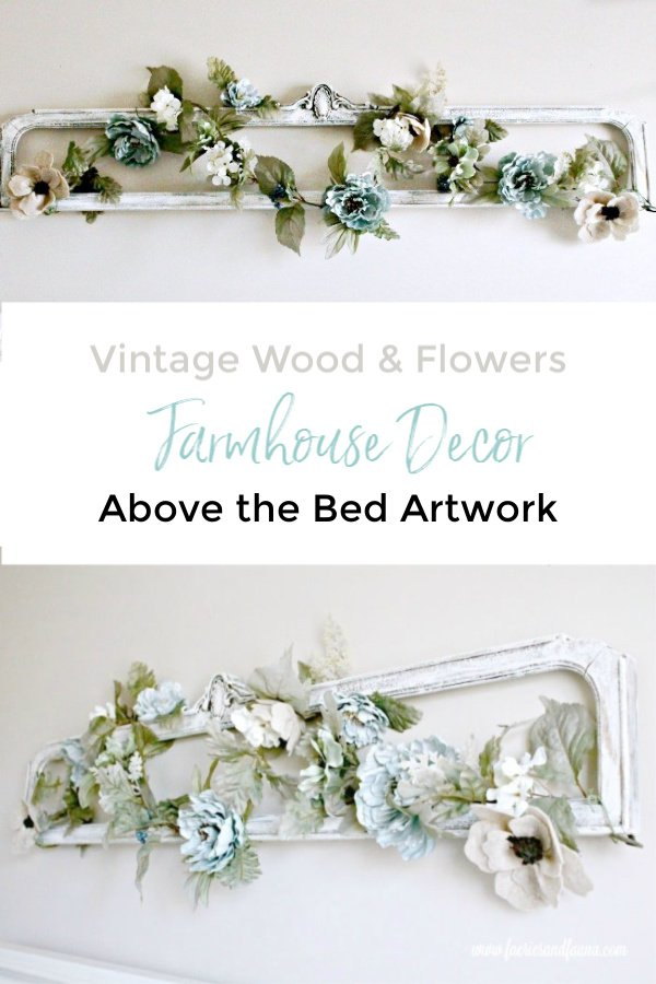 Vintage Wood and Flowers Farmhouse Decor for Above the Bed