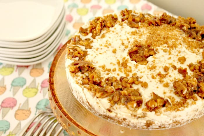 Maple walnut ice cream cake, with maple syrup and ginger cookie crust. Summer dessert, summer dessert recipe, fall dessert, fall dessert recipe