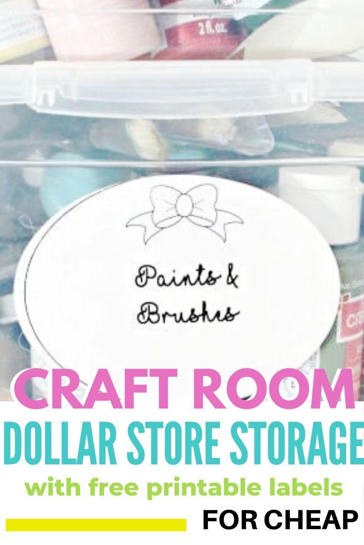 Dollar store storage for craft supplies on a pretty shelf.