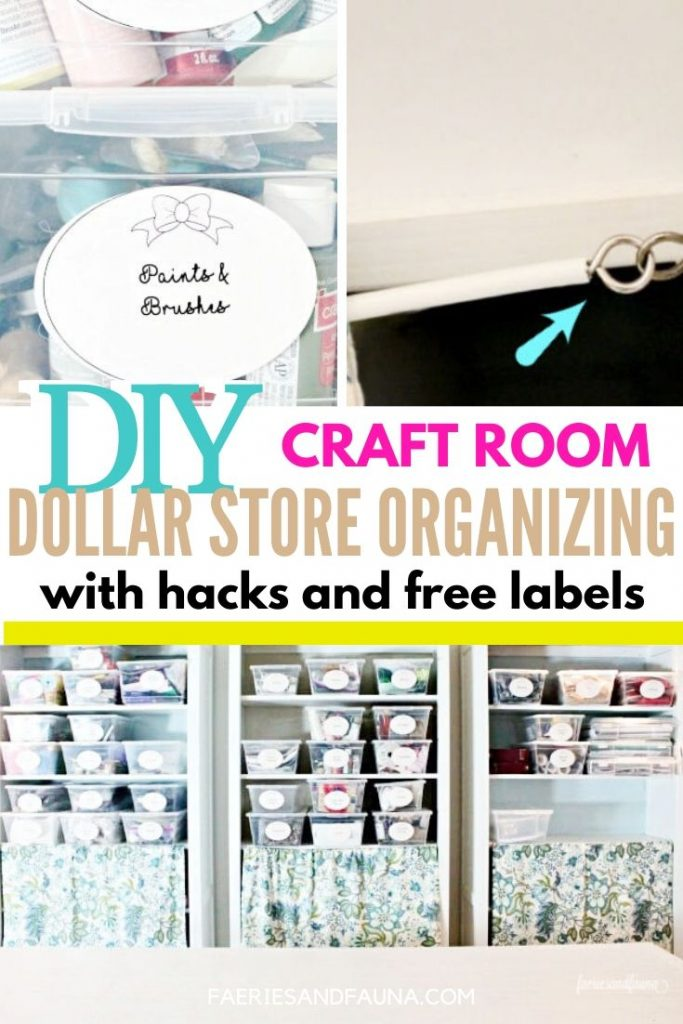 Craft room organization on a budget, with dollar store supplies.