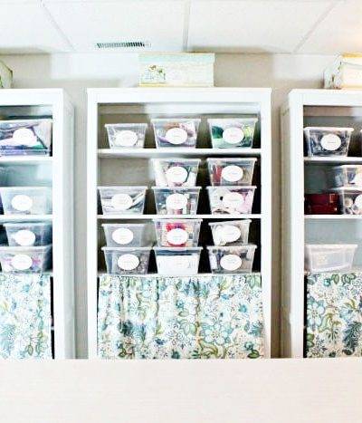 Dollar store craft room organization, with free printable labels for craft organization.