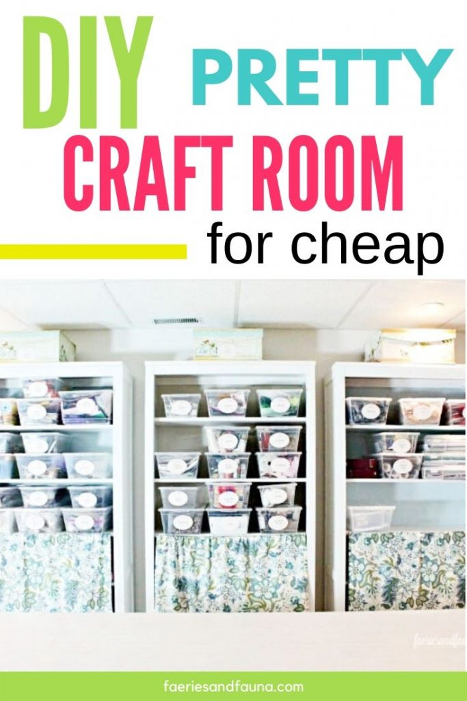 A pretty craft room organized with shelves, labels and cheap plastic storage.