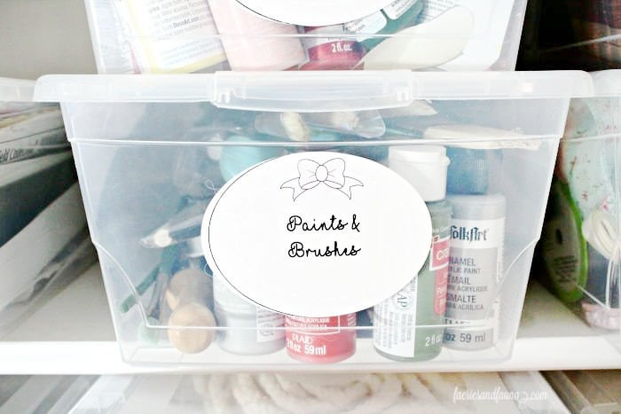 Dollar store DIY organization for a craft room, with dollar store containers and free printable labels.