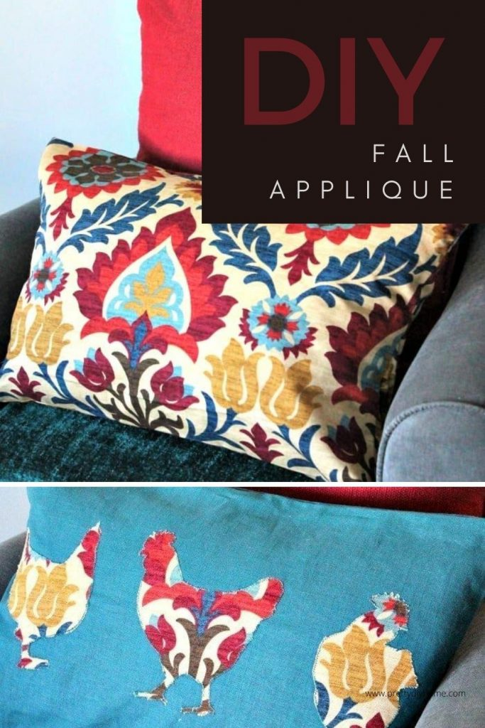 DIY Fall Appliqued cushion covers in matching fabrics
