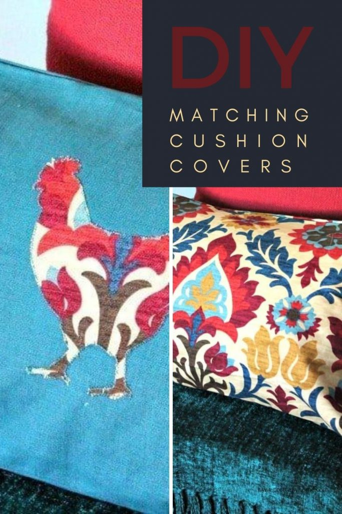 Easy matching DIY Cushion covers with farmhouse chicken appliques in bold Fall colours.
