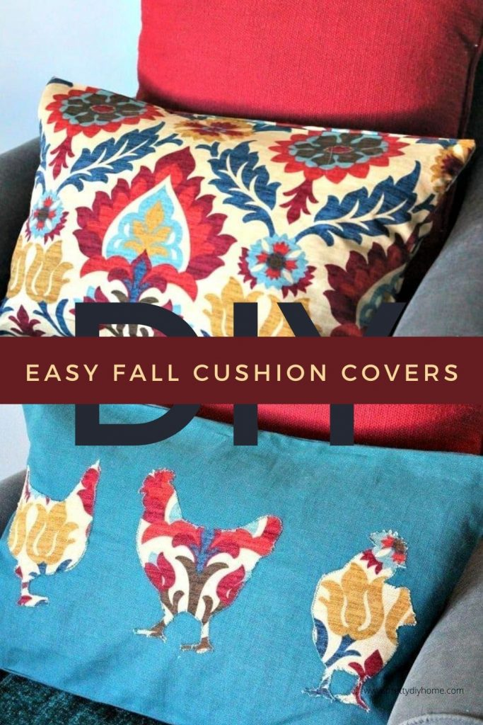 DIY Cushion Covers for Fall in pretty Fall colours like orange and teal.