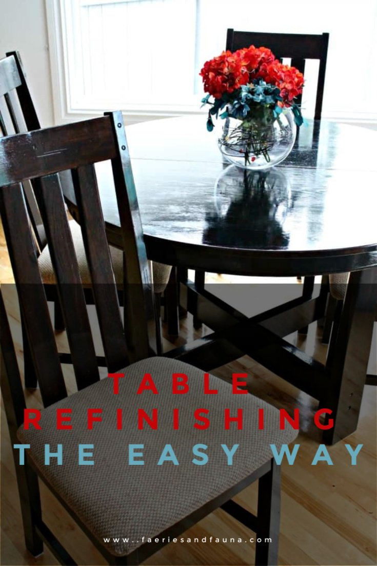 The easy way to refinish a table and chairs using stain not paint.