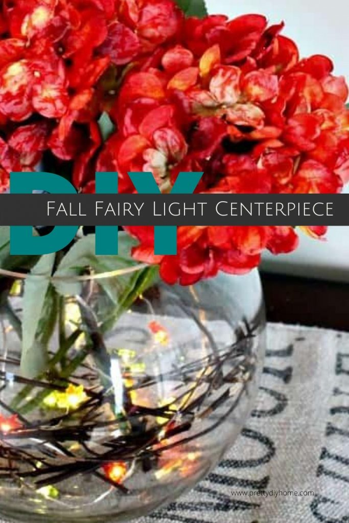 Fall Fairy Light Centerpiece in orange and teal