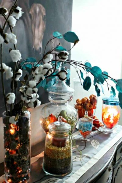 fall apothecary using lights in apothecary jars,jar fillers, apothecary jars decorating ideas, apothecary jar fillers, how to decorate apothecary jars.
