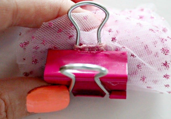 Instructive photo of how to attach a tulle pom pom to an office clip.  Office Supplies, Office Things, Girlish Office Supplies, Sparkly Office Supplies