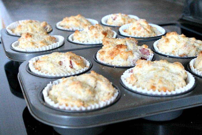 Ham and Cheese Muffin recipe. A savory muffin recipe that freezes and is perfect for back to school.