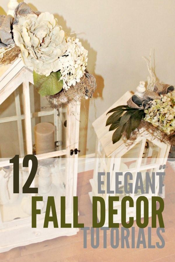 Elegant fall decor ideas with floral arrangement on lamps.