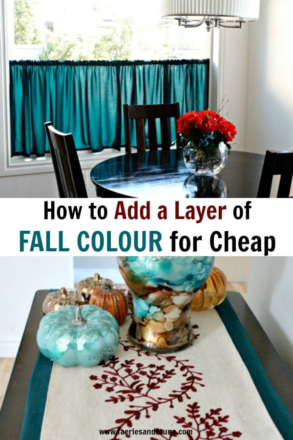 How to add a layer of fall decor for cheap. Pretty DIY curtains and runner sewn for inexpensive fall decor.