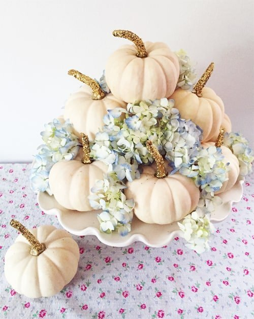 Elegant pumpkin arrangement with hydrangeas, an elegant fall decor tutorial.