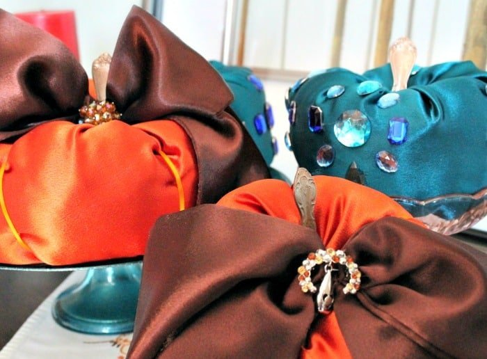 Handmade DIY fabric pumpkins for fall decorating