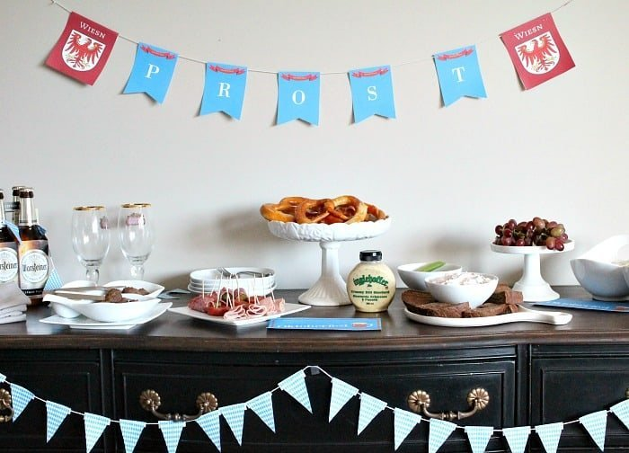 Oktoberfest buffet with German appetizers, German recipes and free Oktoberfest printable decorations.