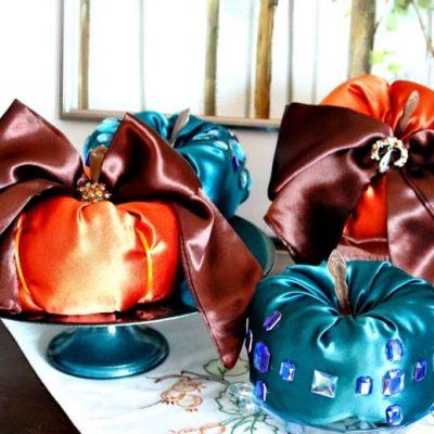 Satin Bejewelled DIY Fabric Pumpkins