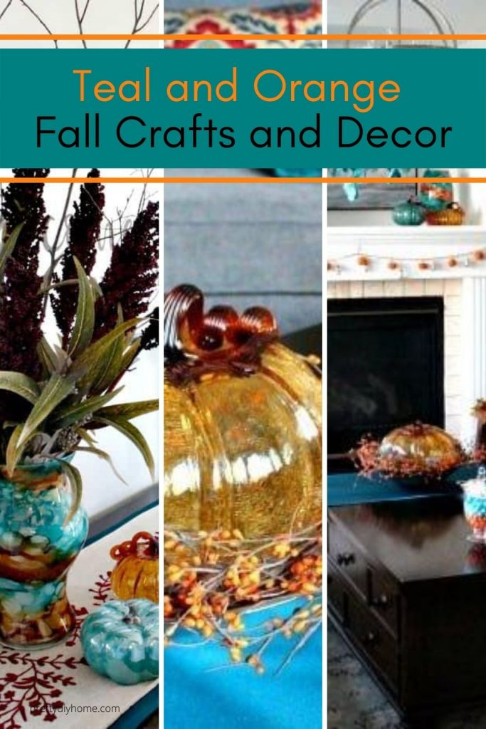 Fall Crafts in Teal with Orange Pumpkins and Fall flower arrangements.