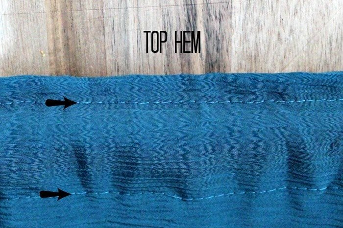 How to sew the top hem of a DIY curtain, for adding to a fall home decor theme.