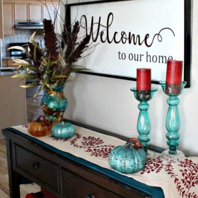 Fall Home Tour Featuring Fall Crafts in Teal and Orange