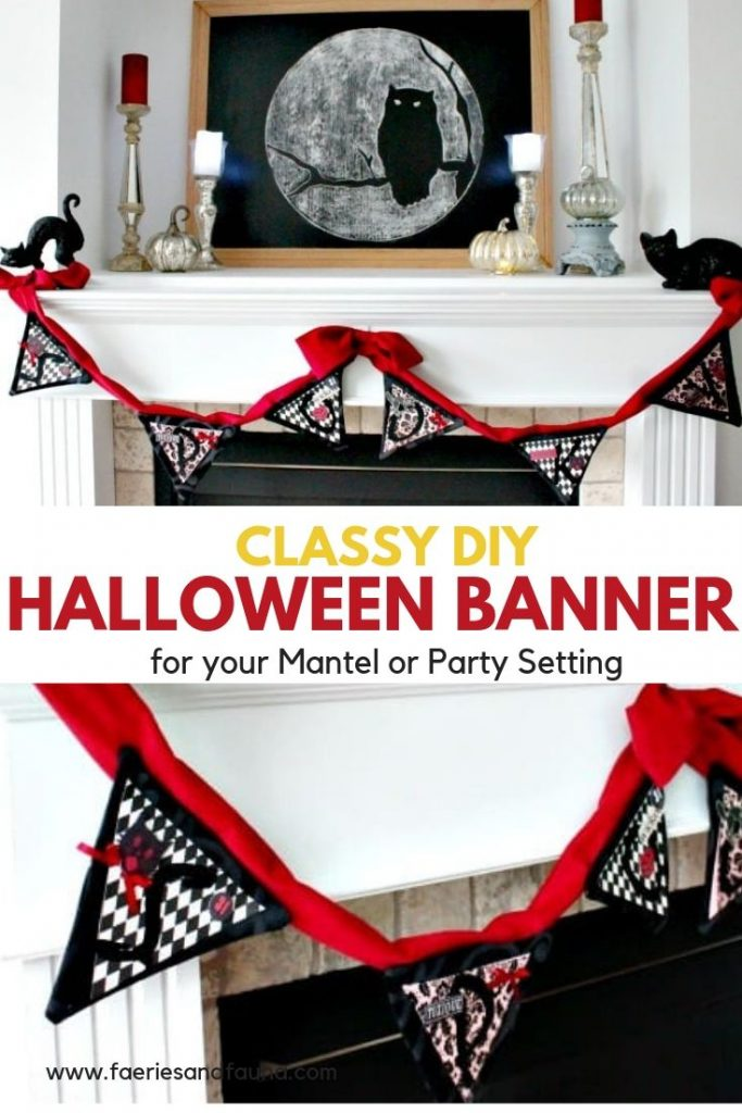 DIY Halloween Banner made with red velvet, Classy halloween decoration for the home.