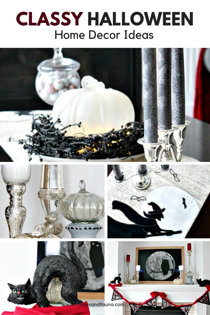 Pumpkins, candles witches and black cats for Classy Halloween decorating ideas.