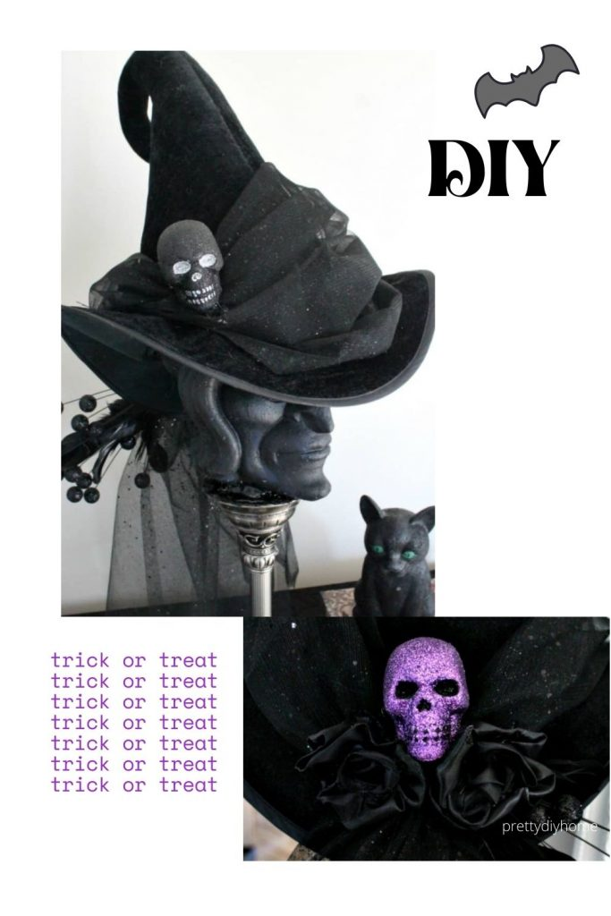 A fancy diy witch hat in black with tulle embellishments and pretty purple sparkled skulls.