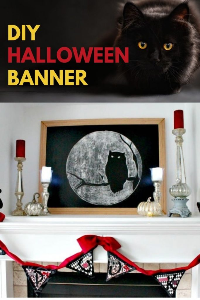 Dramatic red and black Halloween banner. This banner is elegant for a pretty Halloween Mantel.