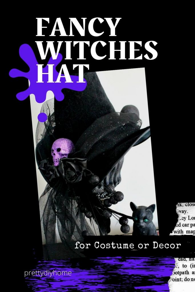 Black and purple DIY Witch hat with pretty sparkling tulle embellishments with black roses and sparkly purple skulls